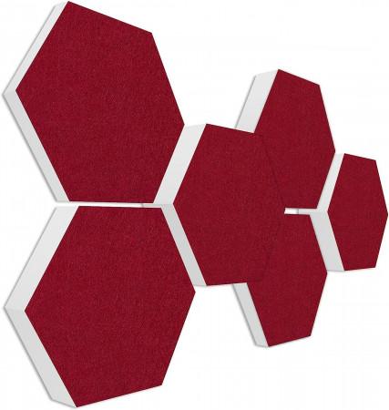 6 Absorber Wabenform Basotect ® G+ Colore BORDEAUX / je 2 Stück 300 x 300 x 30/50/70mm