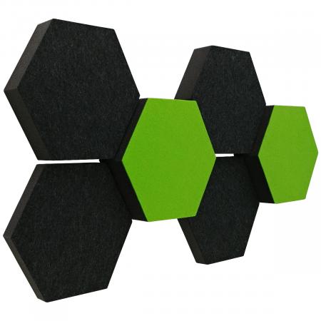 6 Absorber Wabenform Colore ANTHRAZIT + HELLGRÜN / je 2 Stück 300 x 300 x 30/50/70mm