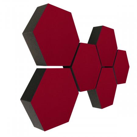 6 Absorber Wabenform Colore BORDEAUX / je 300 x 300 x 70mm