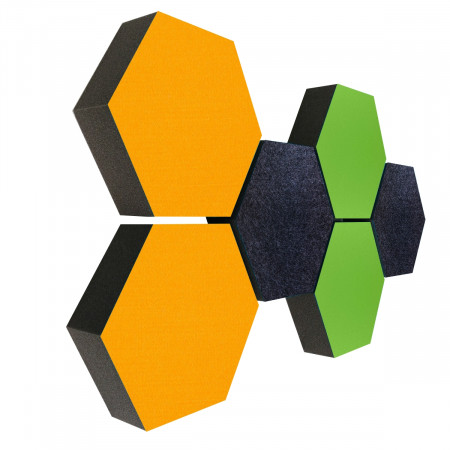 6 Absorber Wabenform Colore 2x SONNENGELB + 2x HELLGRÜN + 2x ANTHRAZIT / je 300 x 300 x 70mm