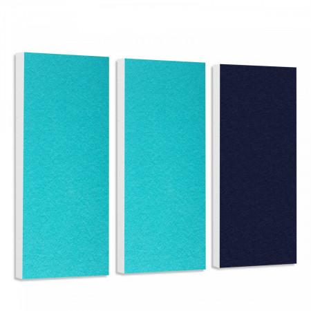 Basotect G+ Schallabsorber-Set Colore < 3 Elemente > Türkis + Nachtblau