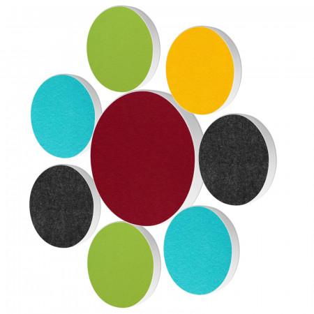 8 Basotect ® G+ Akustik Schallabsorber Kreis Multicolore-Set 01
