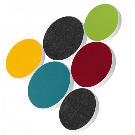 6 Basotect ® G+ Akustik Schallabsorber Kreis Multicolore-Set 14