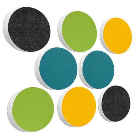 8 Basotect ® G+ Akustik Schallabsorber Kreis Multicolore-Set 04