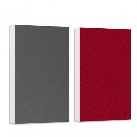 Basotect ® G+ Schallabsorber - 2 x Wandbild 82,5x55 cm Akustik Element Schalldämmung (Bordeaux + Granitgrau)