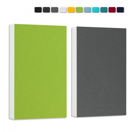 Basotect ® G+ Schallabsorber - 2 x Wandbild 82,5x55 cm Akustik Element Schalldämmung (Hellgrün + Granitgrau)