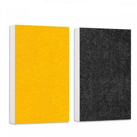 Basotect ® G+ Schallabsorber - 2 x Wandbild 82,5x55 cm Akustik Element Schalldämmung (Petrol + Granitgrau)