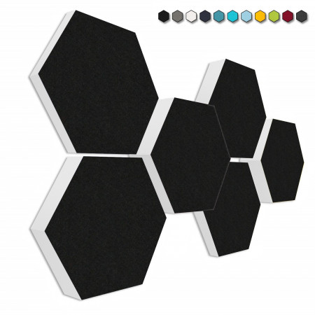 6 Schall Absorber Wabenform Basotect ® G+ Colore II SCHWARZ VLIES 3D-Set in 3 Stärken