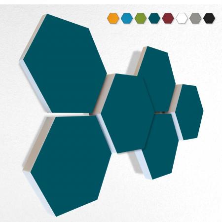 6 Schall Absorber Wabenform Basotect ® G+ Colore II PETROL VLIES 3D-Set in 3 Stärken