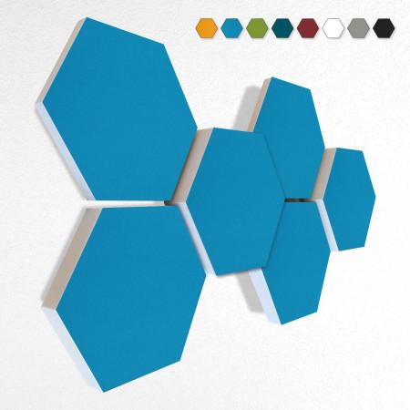 6 Schall Absorber Wabenform Basotect ® G+ Colore II TÜRKIS VLIES 3D-Set in 3 Stärken