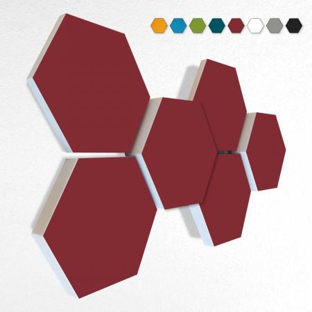 6 Schall Absorber Wabenform Basotect ® G+ Colore II BORDEAUX VLIES 3D-Set in 3 Stärken