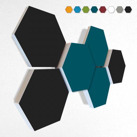 6 Schall Absorber Wabenform Basotect ® G+ Colore II VLIES 3-D Mix-Set  in 3 Stärken - Nr.01