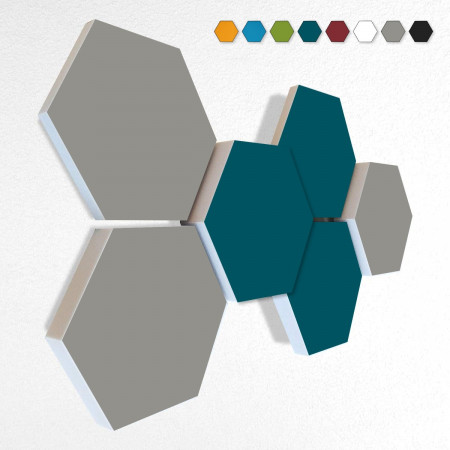 6 Schall Absorber Wabenform Basotect ® G+ Colore II VLIES 3-D Mix-Set  in 3 Stärken - Nr.03