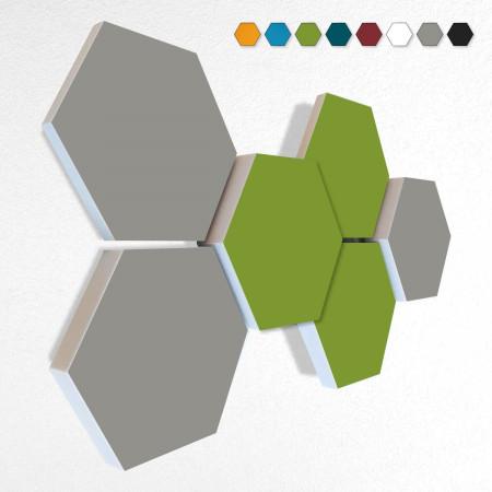 6 Schall Absorber Wabenform Basotect ® G+ Colore II VLIES 3-D Mix-Set  in 3 Stärken - Nr.04