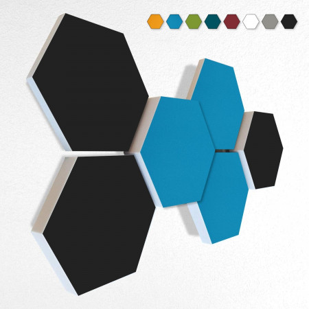 6 Schall Absorber Wabenform Basotect ® G+ Colore II VLIES 3-D Mix-Set  in 3 Stärken - Nr.07