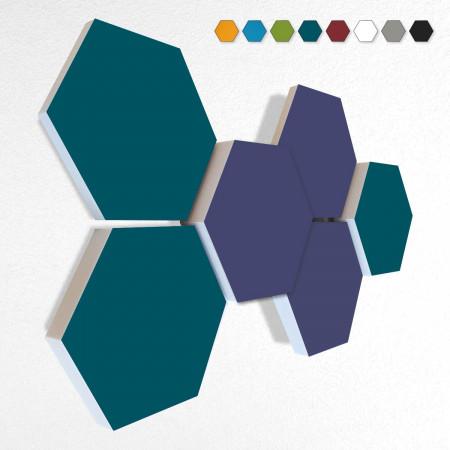 6 Schall Absorber Wabenform Basotect ® G+ Colore II VLIES 3-D Mix-Set  in 3 Stärken - Nr.08