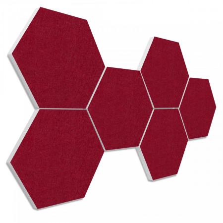 6 Absorber Wabenform aus Basotect ® G+ je 300 x 300 x 30mm Colore BORDEAUX