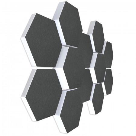 12 Absorber Wabenform aus Basotect ® G+ / Colore GRANITGRAU BigPack / je 4 Stück 30/50/70mm