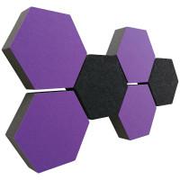 6 Absorber Wabenform Colore 4x LILA + 2x ANTHRAZIT / je 300 x 300 x 70mm