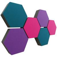 6 Absorber Wabenform Colore JE 2x LILA, PINK, PETROL / je 300 x 300 x 70mm