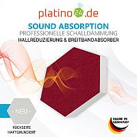 6 Absorber Wabenform aus Basotect ® G+ / Colore BORDEAUX + ANTHRAZIT / je 2 Stück 300 x 300 x 30/50/70mm