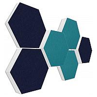6 Absorber Wabenform Basotect ® G+ Colore PETROL + DUNKELBLAU / je 1 Stück 300 x 300 x 30/50/70mm