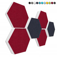 6 Absorber Wabenform Basotect ® G+ Colore Bordeaux + Dunkelblau / je 2 Stück 300 x 300 x 30/50/70mm