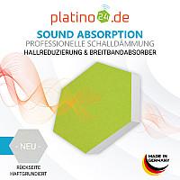 6 Absorber Wabenform Basotect ® G+ Colore Hellgrün + Dunkelblau / je 2 Stück 300 x 300 x 30/50/70mm