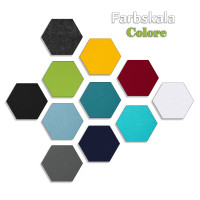 6 Absorber Wabenform aus Basotect ® G+ / Colore Sonnengelb + Dunkelblau / je 2 Stück 300 x 300 x 30/50/70mm
