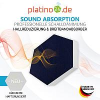 6 Absorber Wabenform Basotect ® G+ Colore Sonnengelb + Dunkelblau / je 2 Stück 300 x 300 x 30/50/70mm