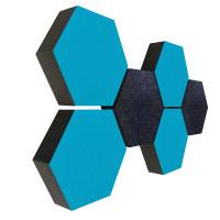 6 Absorber Wabenform Colore 4x TÜRKIS + 2x ANTHRAZIT / je 300 x 300 x 70mm