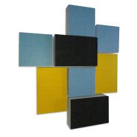 8 Absorber Rechtecke Basotect ® G+ Colore - 4x Blau / 2x Gelb/ 2x Anthrazit