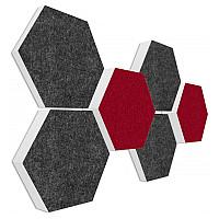 6 Absorber Wabenform Basotect ® G+ Colore Anthrazit + Bordeaux / je 2 Stück 300 x 300 x 30/50/70mm
