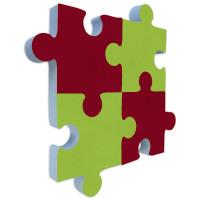 4x Basotect ® G+ PUZZLE Akustik Elemente Schalldämmung Schallabsorber - Rot und Grün