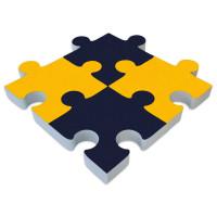 4x Basotect ® G+ PUZZLE Akustik Elemente Schalldämmung Schallabsorber - Blau und Gelb