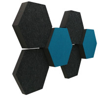 6 Absorber Wabenform Colore ANTHRAZIT + PETROL / je 2 Stück 300 x 300 x 30/50/70mm
