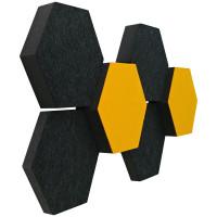 6 Absorber Wabenform Colore ANTHRAZIT + SONNENGELB / je 2 Stück 300 x 300 x 30/50/70mm
