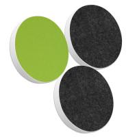 3x Basotect ® G+ / Ronde Kreis Durchmesser 400 mm / 50 mm dick (Hellgrün + Anthrazit)
