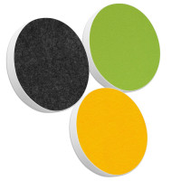 3x Basotect ® G+ / Ronde Kreis Durchmesser 400 mm / 50 mm dick (Sonnengelb + Anthrazit + Hellgrün)