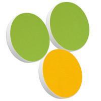3x Basotect ® G+ / Ronde Kreis Durchmesser 400 mm / 50 mm dick (Hellgrün + Sonnengelb)