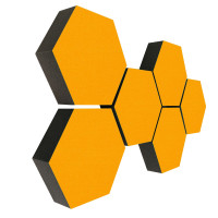 6 Absorber Wabenform Colore SONNENGELB / je 300 x 300 x 70mm