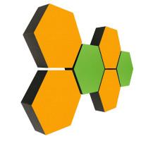 6 Absorber Wabenform Colore 4x SONNENGELB + 2x HELLGRÜN / je 300 x 300 x 70mm