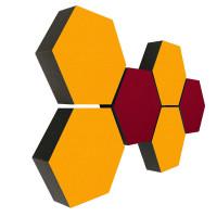 6 Absorber Wabenform Colore 4x SONNENGELB + 2x BORDEAUX / je 300 x 300 x 70mm
