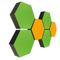 6 Absorber Wabenform Colore 4x HELLGRÜN + 2x SONNENGELB / je 300 x 300 x 70mm