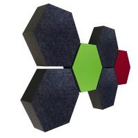 6 Absorber Wabenform Colore 4x ANTHRAZIT + 1x HELLGRÜN + 1x BORDEAUX / je 300 x 300 x 70mm
