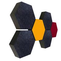 6 Absorber Wabenform Colore 4x ANTHRAZIT + 1x SONNENGELB + 1x BORDEAUX / je 300 x 300 x 70mm