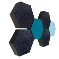 6 Absorber Wabenform Colore 4x ANTHRAZIT + 1x PETROL + 1x LIGHTBLUE / je 300 x 300 x 70mm