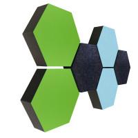6 Absorber Wabenform Colore 2x LIGHTBLUE + 2x HELLGRÜN + 2x ANTHRAZIT / je 300 x 300 x 70mm