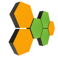 6 Absorber Wabenform Colore 3x SONNENGELB + 3x HELLGRÜN / je 300 x 300 x 70mm