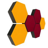 6 Absorber Wabenform Colore 3x SONNENGELB + 3x BORDEAUX / je 300 x 300 x 70mm